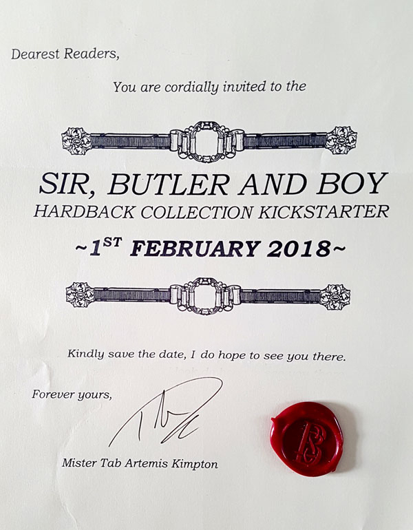 Invitation to the Sir, Butler and Boy Kickstarter
